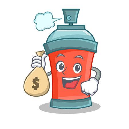 Spray can holding a money bag.