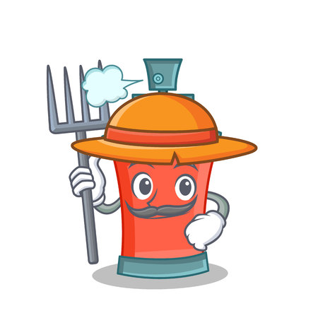 Farmer aerosol spray can character cartoon vector illustration