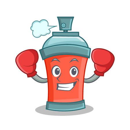 Boxing aerosol spray can character cartoon vector illustration