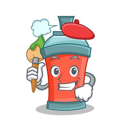 paint can: Artist aerosol spray can character cartoon vector illustration