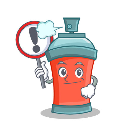 With sign aerosol spray can character cartoon vector illustration