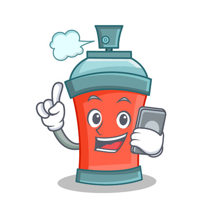 hands free phone: aerosol spray can character cartoon with phone vector illustration