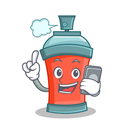 paint can: aerosol spray can character cartoon with phone vector illustration