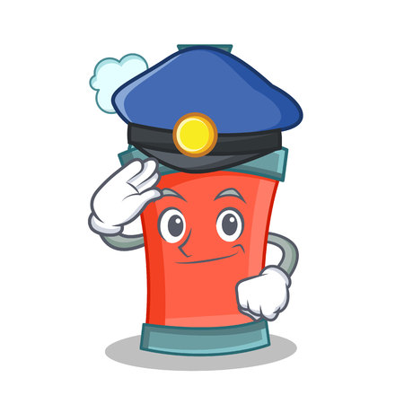 Police aerosol spray can character cartoon vector illustration Illustration