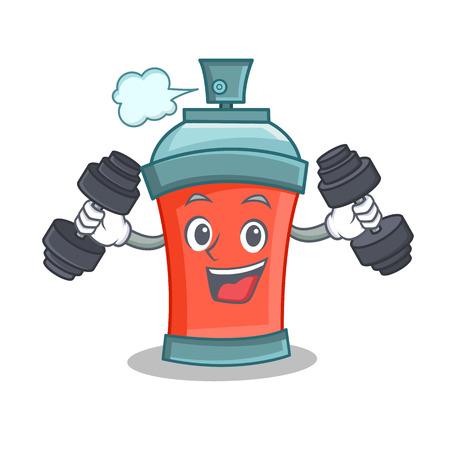 Fitness aerosol spray can character cartoon vector illustration