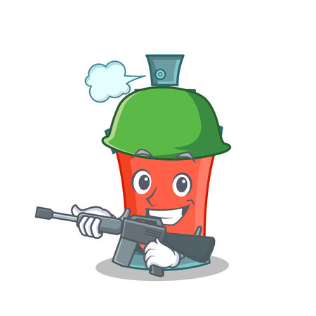 Army aerosol spray can character cartoon vector illustration