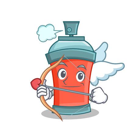Cupid aerosol spray can character cartoon vector illustration