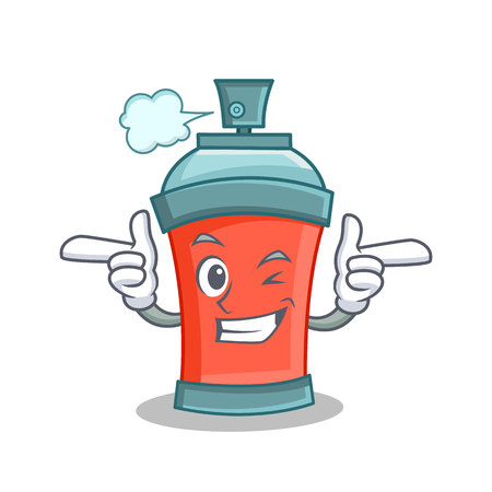 Wink aerosol spray can character cartoon vector illustration