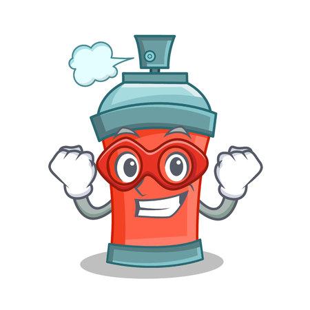Super hero aerosol spray can character cartoon vector illustration