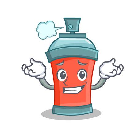 Grinning aerosol spray can character cartoon vector illustration