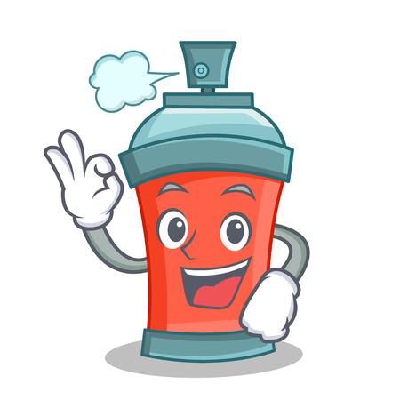 Okay aerosol spray can character cartoon vector art