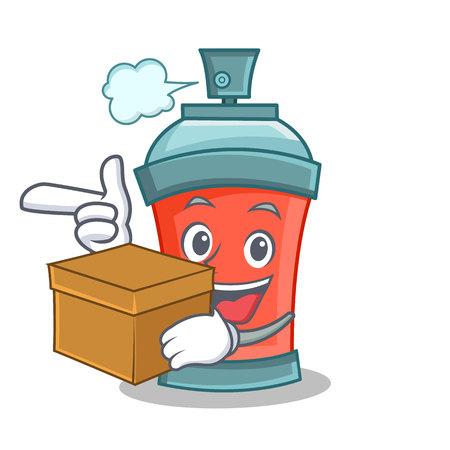 aerosol spray can character cartoon with box vector illustration