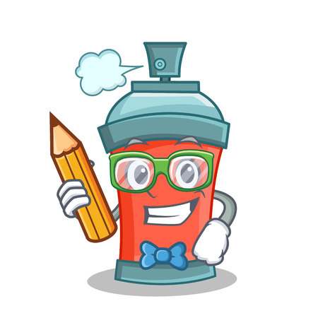 Student with pencil aerosol spray can character cartoon vector art