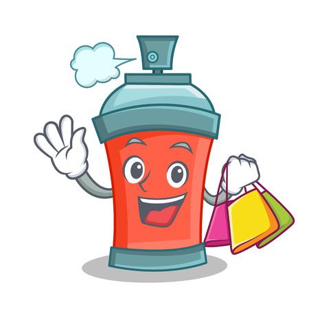paint can: Shopping aerosol spray can character cartoon illustration Illustration