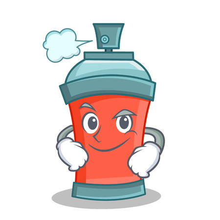 Smirking aerosol spray can character cartoon vector illustration
