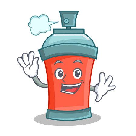 Waving aerosol spray can character cartoon vector illustration