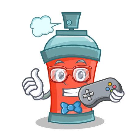Gamer aerosol spray can character cartoon vector illustration Illustration