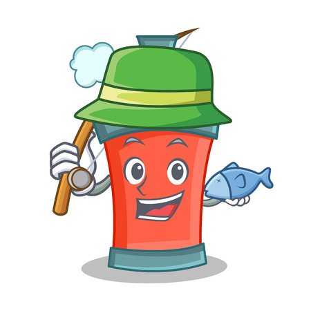 Fishing aerosol spray can character cartoon vector art