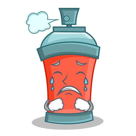 Crying aerosol spray can character cartoon vector illustration