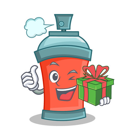 aerosol spray can character cartoon with gift vector illustration