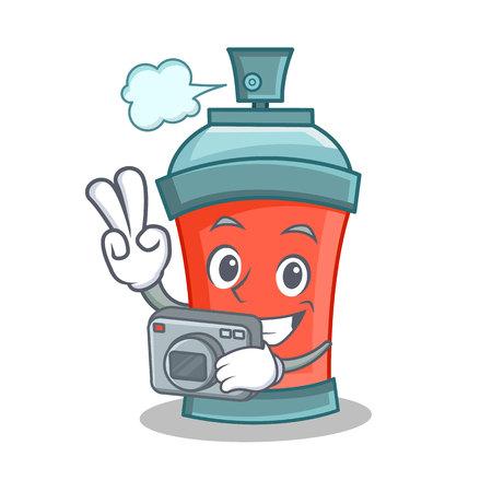 paint can: Photography aerosol spray can character cartoon vector illustration