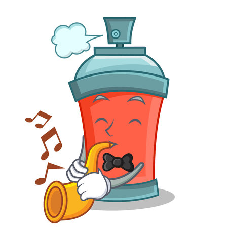 paint can: With trumpet aerosol spray can character cartoon vector illustration