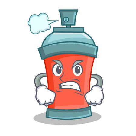 Angry aerosol spray can character cartoon vector illustration