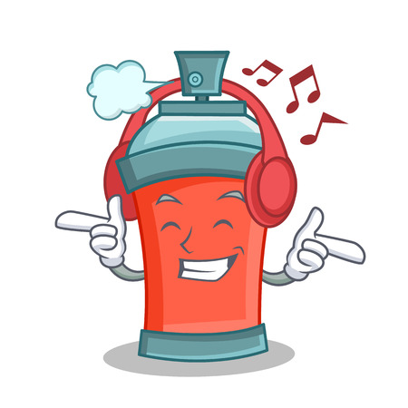 Listening music aerosol spray can character cartoon vector art