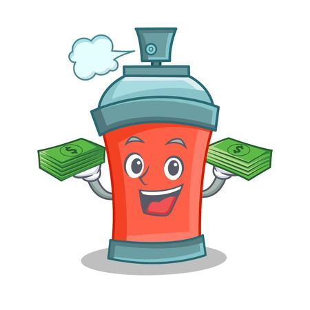 aerosol spray can character cartoon with money vector art