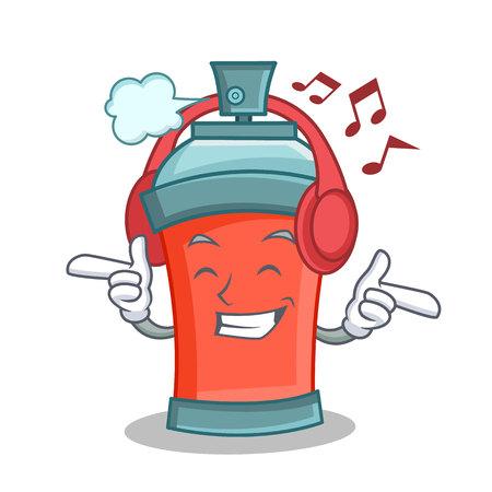 Listening music aerosol spray can character cartoon vector art