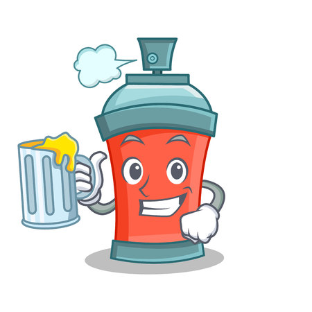 With juice aerosol spray can character cartoon vector illustration Illustration