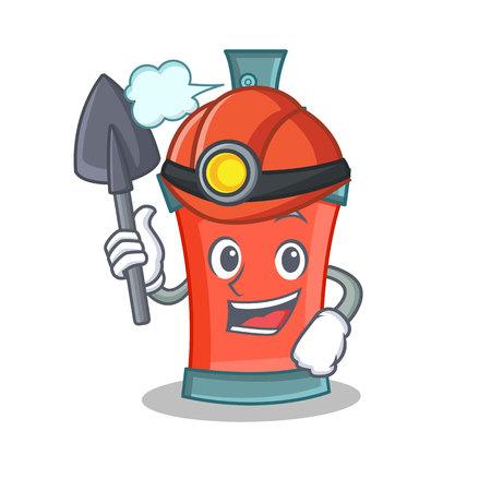 Miner aerosol spray can character cartoon vector illustration