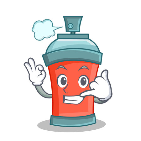 Call me aerosol spray can character cartoon illustration
