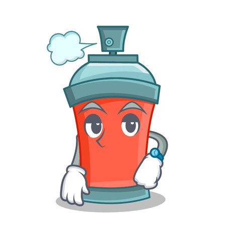 Waiting aerosol spray can character cartoon illustration Illustration