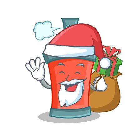 Santa aerosol spray can character cartoon with gift illustration Illustration
