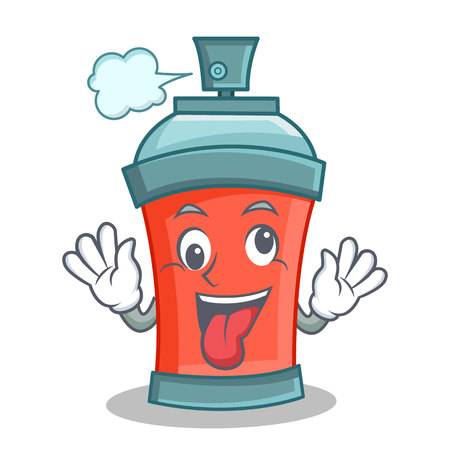 paint can: Crazy aerosol spray can character cartoon vector illustration Illustration