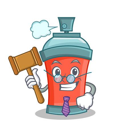 paint can: Judge aerosol spray can character cartoon illustration Illustration