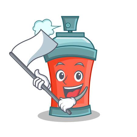 aerosol spray can character cartoon with flag vector illustration