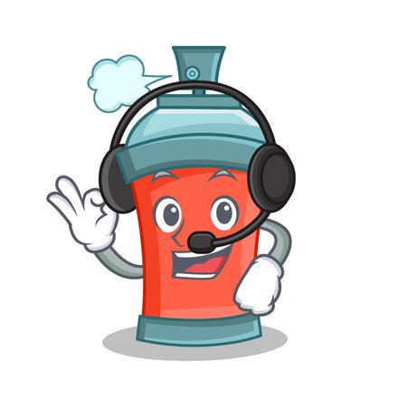 paint can: aerosol spray can character cartoon with headphone vector art