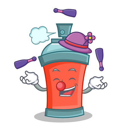Juggling aerosol spray can character cartoon vector illustration Illustration