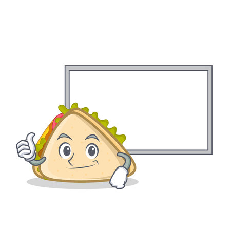 Pose with board sandwich character cartoon style vector illustration Illustration