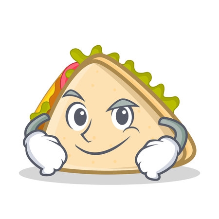 Smirking sandwich character cartoon style vector illustration