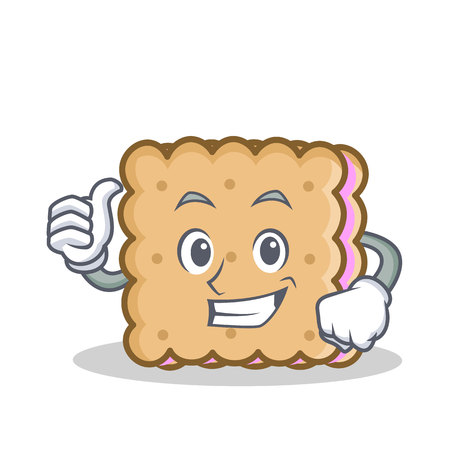 Thumbs up biscuit cartoon character style vector illustration