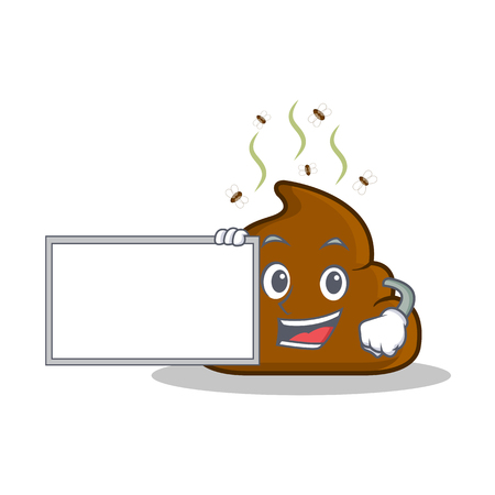 With board Poop emoticon character cartoon Illustration