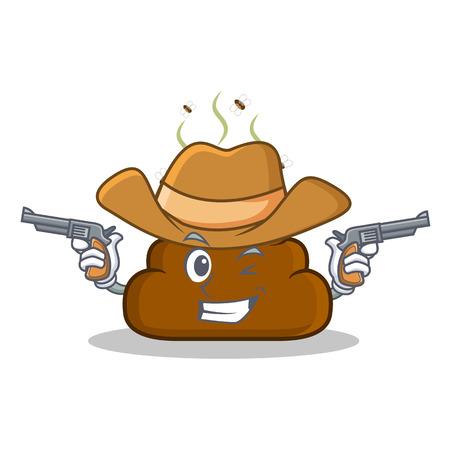 Cowboy Poop emoticon character cartoon Illustration