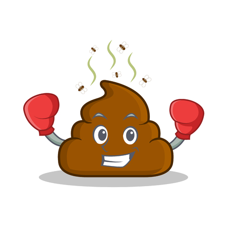Boxing Poop emoticon character cartoon vector illustration