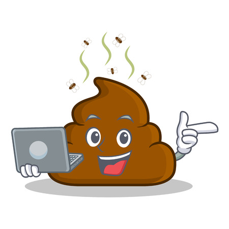 With laptop Poop emoticon character cartoon vector illustration
