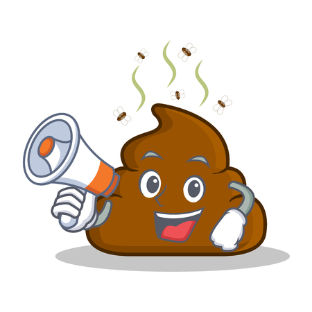 With megaphone Poop emoticon character cartoon