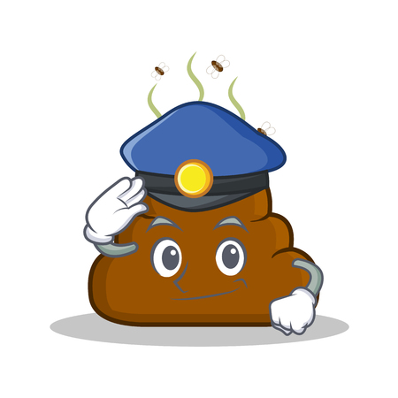 Police Poop emoticon character cartoon