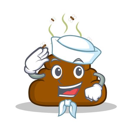 Sailor Poop emoticon character cartoon Illustration